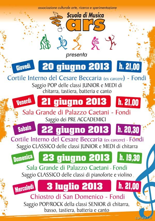 Scuola di Musica ARS, il calendario dei saggi giugno/luglio