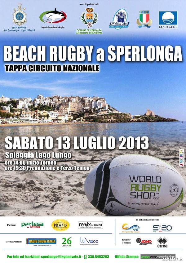 Sperlonga, per il secondo anno consecutivo tappa  del campionato italiano di Beach Rugby (sabato 13 luglio 2013)