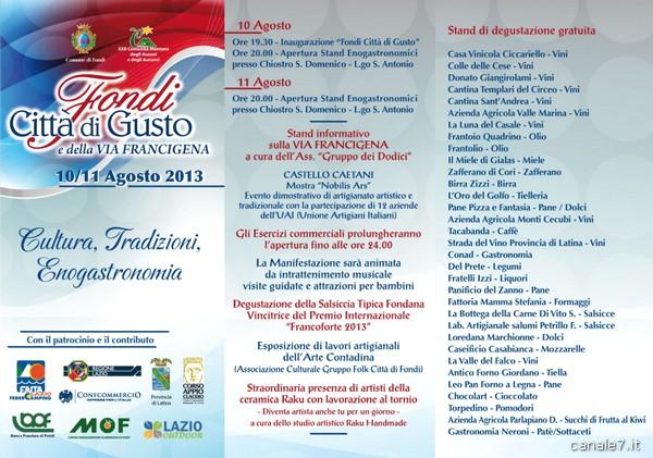 brochure Fondi - Città di Gusto e via Francigena 2013_comp