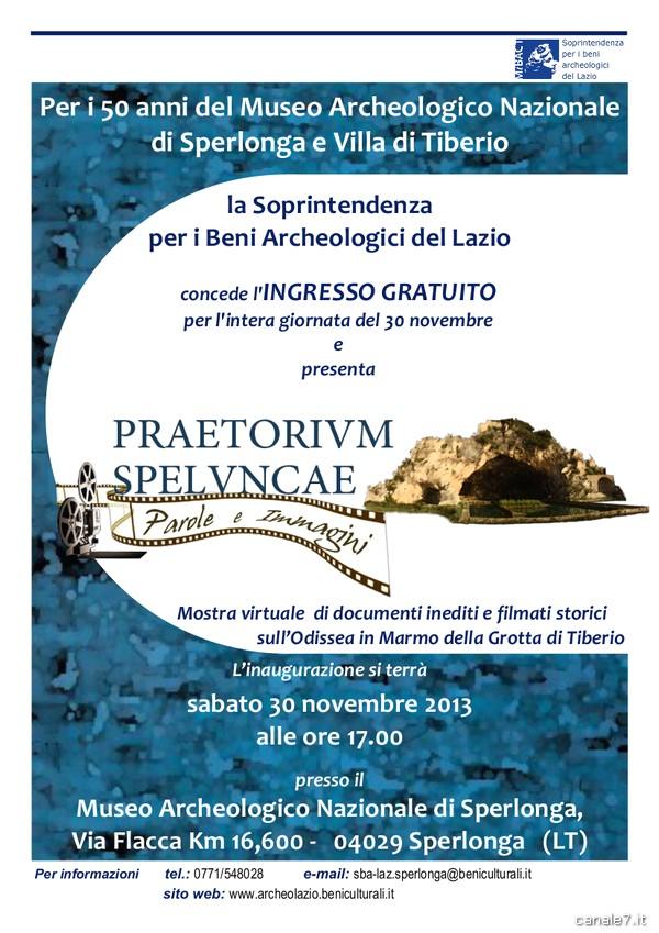 30 novembre, ingresso gratuito al Museo di Sperlonga