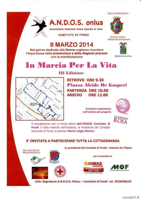 """""""In Marcia per la Vita"""", manifestazione ANDOS a Fondi per l'8 Marzo"""
