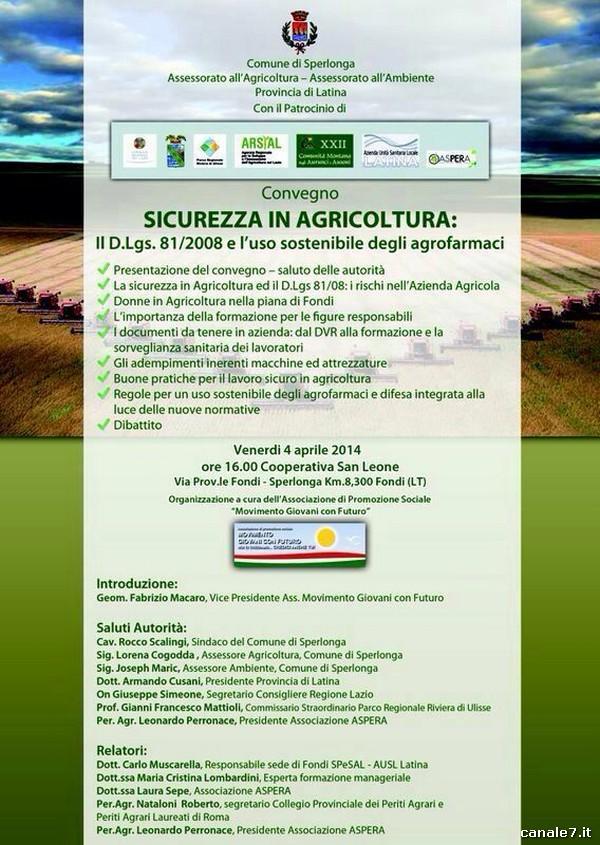 """Convegno sulla """"SICUREZZA IN AGRICOLTURA"""", domani 4 aprile"""