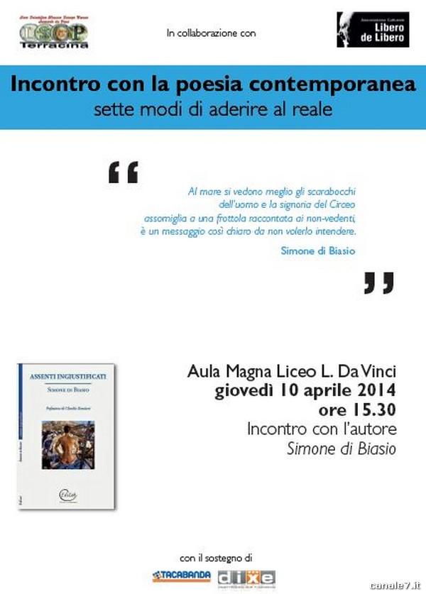 Poesia. Al Liceo 'da Vinci' di Terracina ospite il giovane fondano di Biasio con l'opera prima