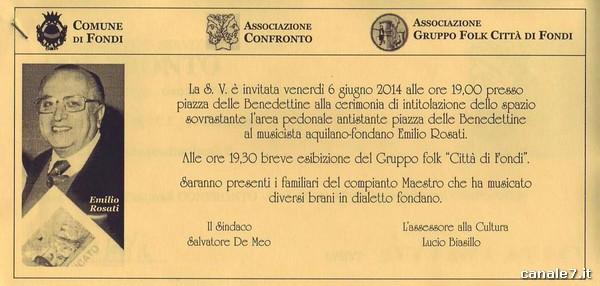 Domani 6 giugno a fondi intitolazione piazza a emilio for Tito d emilio arredamenti catania