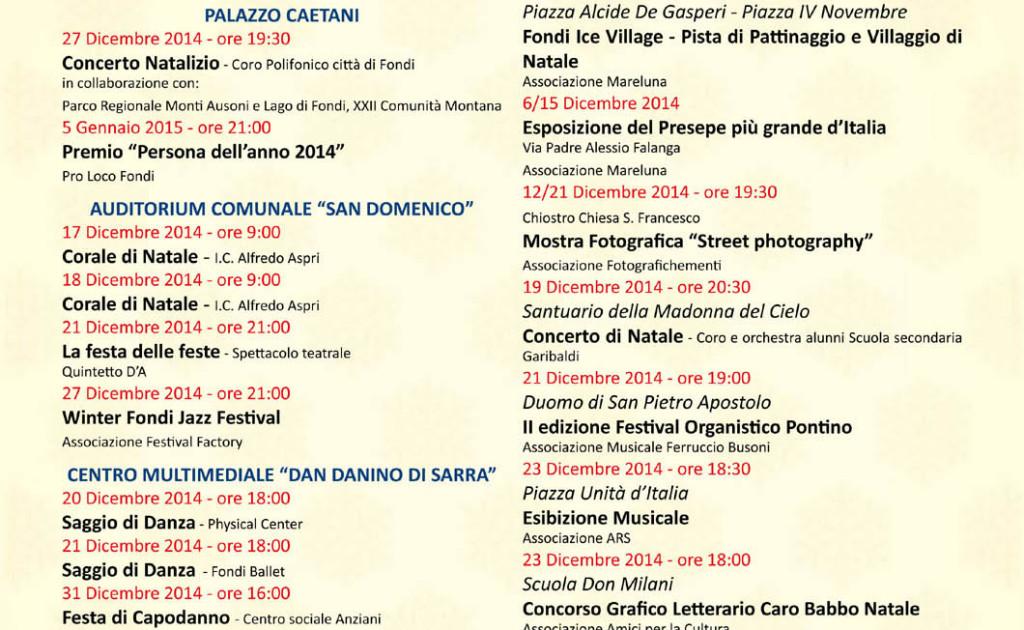 Calendario Eventi Natale 2014 FONDI