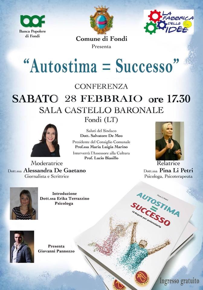 Locandina Conferenza 'Autostima uguale Successo'