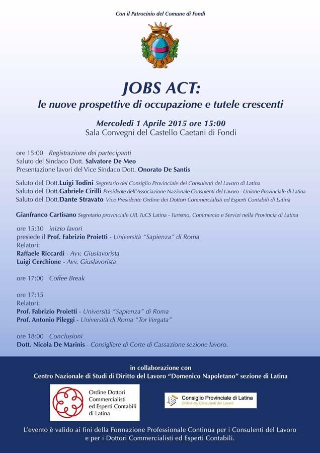 Locandina Convegno sul Jobs Act a Fondi