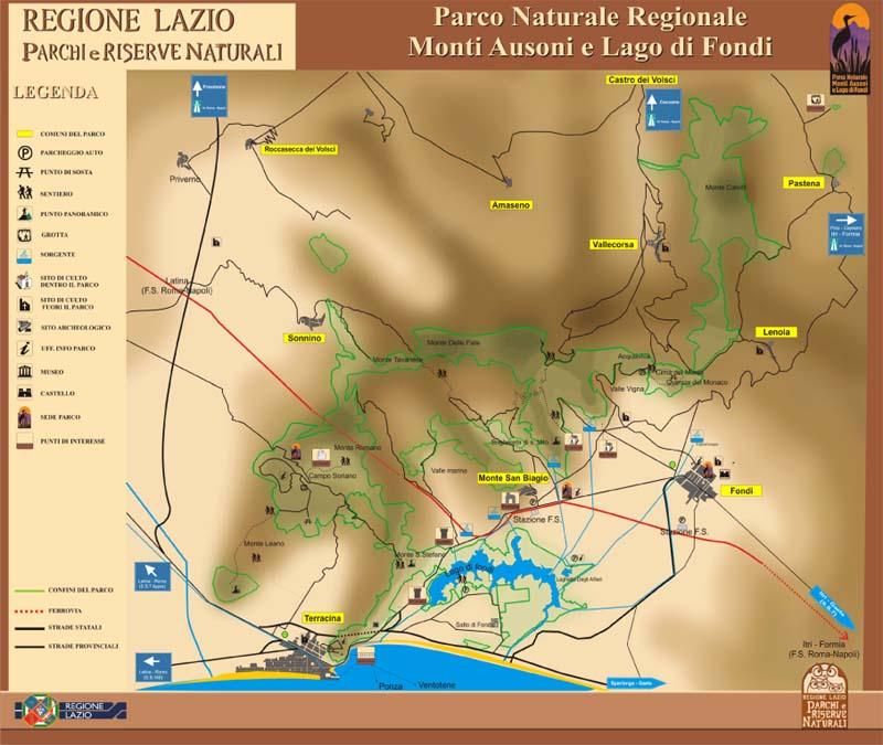 mappa ente parco monti ausoni e lago di fondi