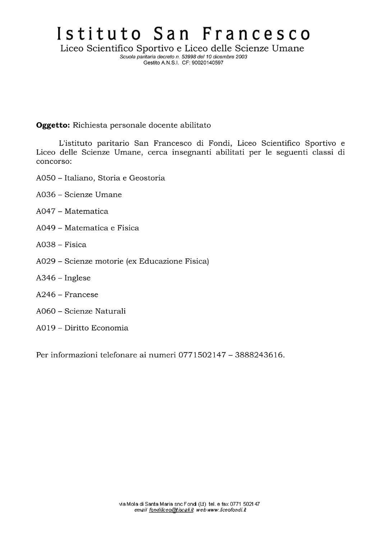 Ricerca personale Istituto San Francesco Fondi