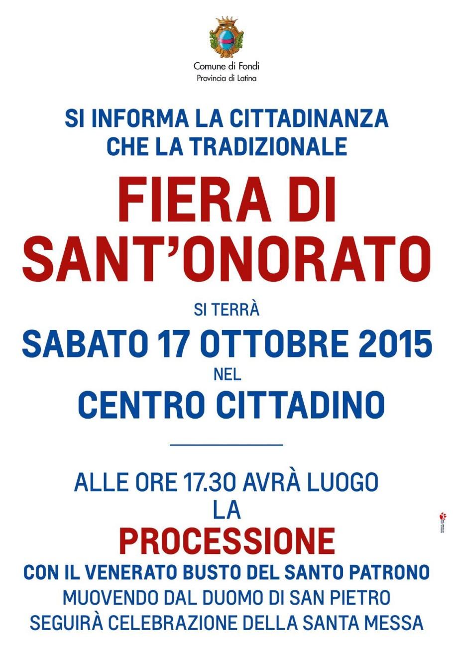locandina Fiera S. Onorato 2015 spostata al 17 Ottobre