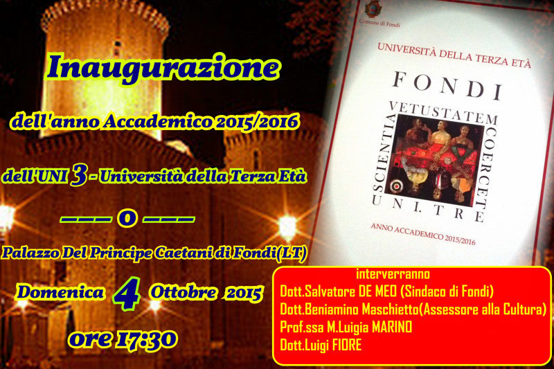 slide Inaugurazione a.a. 2015-16 UNI 3 Fondi