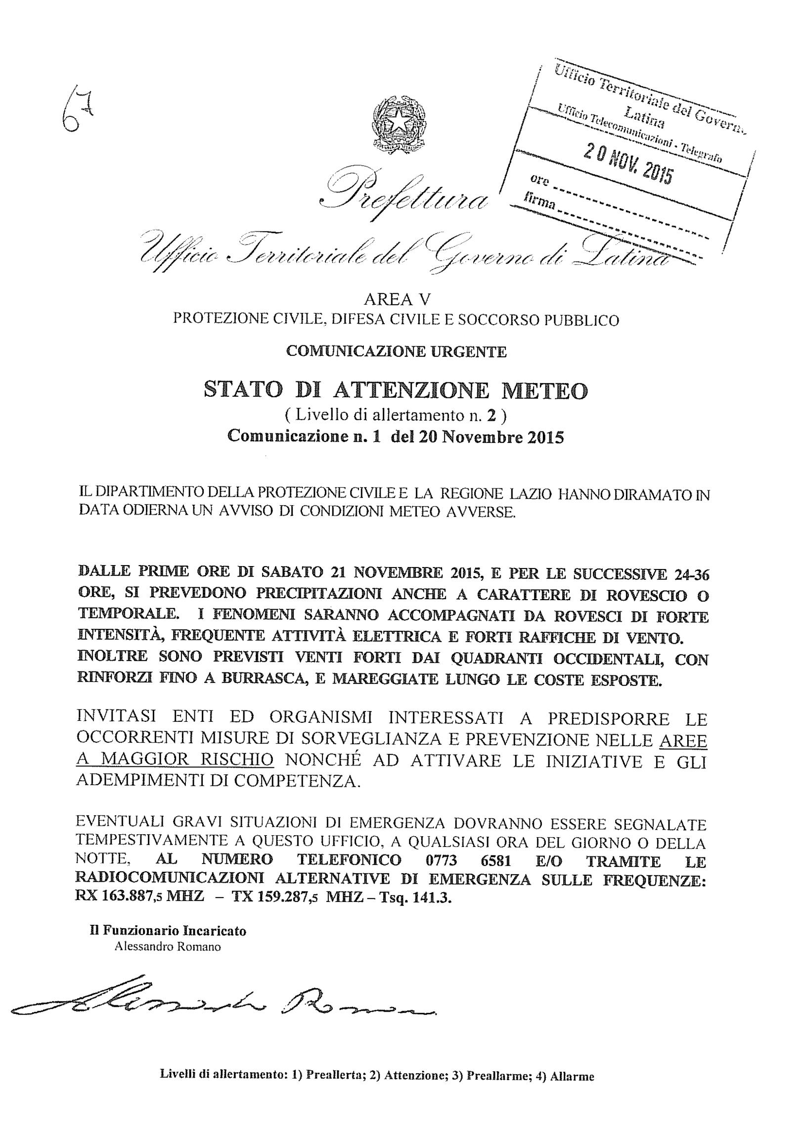 COMUNICATO PREFETTURA STATO DI ATTENZIONE METEO