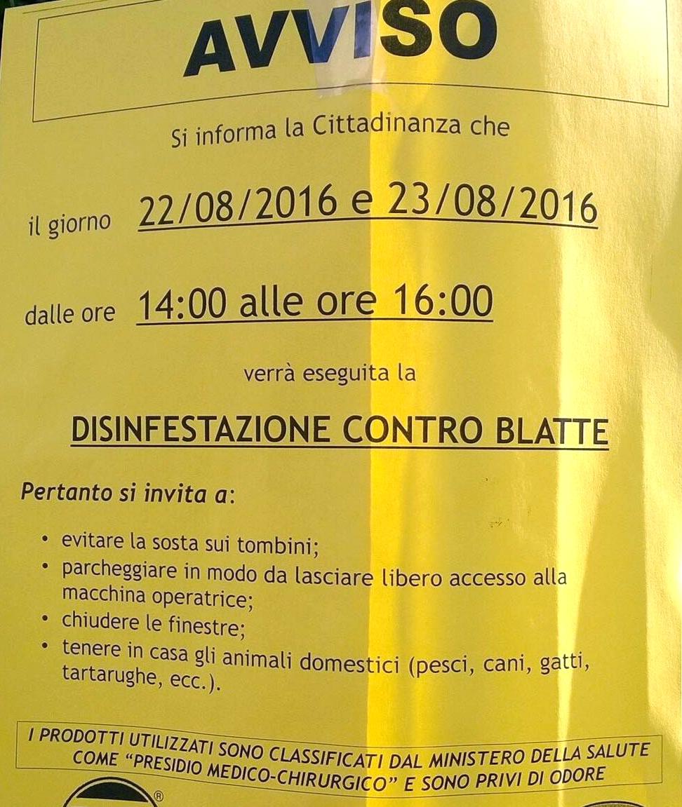 LOCANDINA AVVISO DISINFESTAZIONE BLATTE