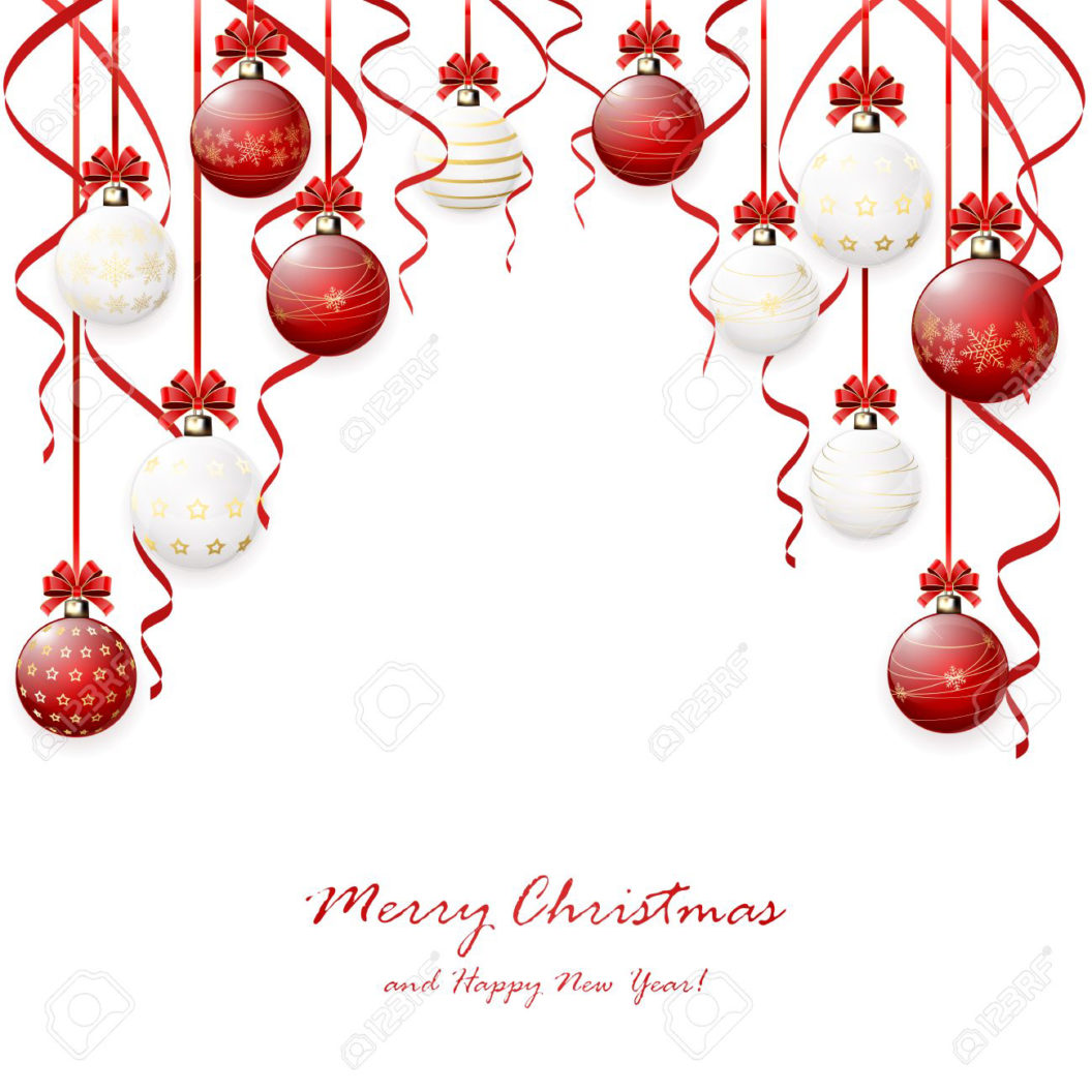 Red hanging Christmas balls and tinsel on white background, illustration.