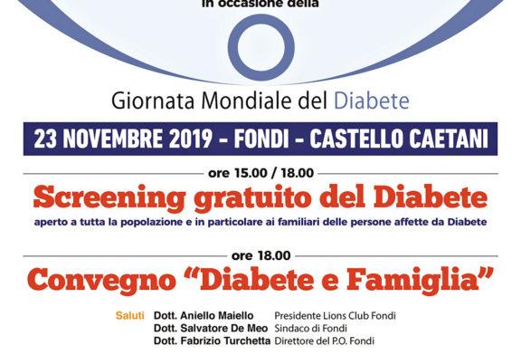 Sabato 23 Novembre, Giornata Mondiale del Diabete