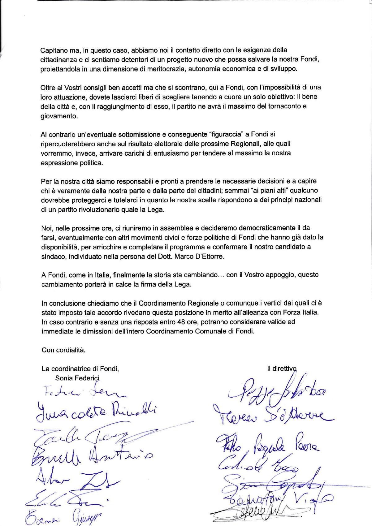 DIMISSIONI LEGA FONDI - PAG 3 con firme