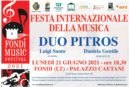 """Entra nel vivo la X edizione del Fondi Music Festival, il """"Duo Pitros"""" in concerto a Palazzo Caetani"""
